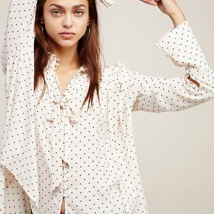 Free People Modern Muse Dotted Blouse
